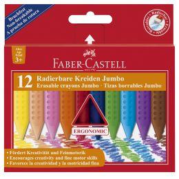 FABER-CASTELL Radierbare Kreiden JUMBO, 12er Kartonetui