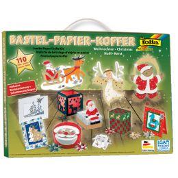folia Bastelpapier-Koffer Weihnachten, 110-teilig