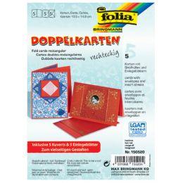 folia Doppelkarten, 105 x 150 mm, 220 g/qm, hochrot
