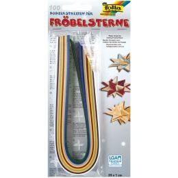 folia Faltpapierstreifen für Fröbelsterne, Weihnachtsfarben