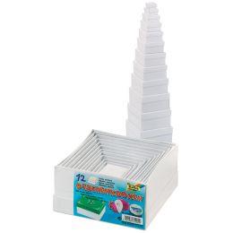 folia Geschenkboxen Eckig, 12 Stück Größen sortiert, weiß