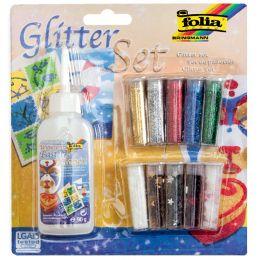 folia Glitter-Set inklusive Dekokleber, farbig sortiert