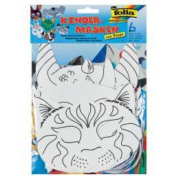 folia Kindermasken Tiere, aus Pappe, 6 Motive sortiert