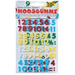 folia Moosgummi Glitter-Sticker, Zahlen