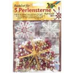 folia Perlensterne-Set, 340-teilig, rot / gold / perlweiß