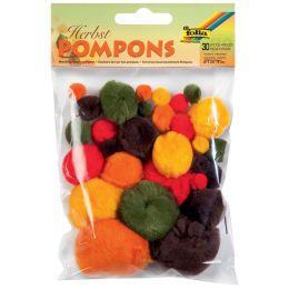 folia Pompons, 30 Stück, Herbstfarben