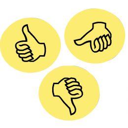 FRANKEN Moderationskarte Wertungssymbol Daumen, gelb