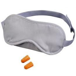 hama Reise-Schlaf-Set, gepolsterte Schlafmaske, grau