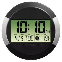 hama Wanduhr PP-245, Funkuhr, aus Kunststoff, schwarz