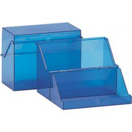helit Klein-Karteikasten Transluzent, A8 quer, blau