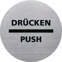 helit Piktogramm DRÜCKEN/PUSH, Durchmesser: 115 m, silber