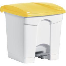 helit Tret-Abfalleimer, 30 Liter, weiß/gelb