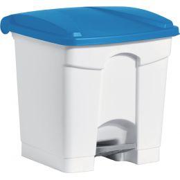 helit Tret-Abfalleimer, 30 Liter, weiß/blau