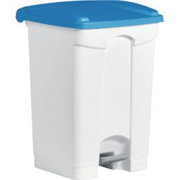 helit Tret-Abfalleimer, 45 Liter, weiß/blau