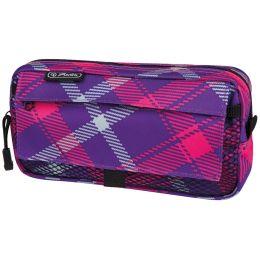 herlitz Stifte-Tasche Karo, mit Netztasche, pink/lila