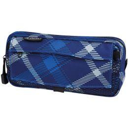 herlitz Stifte-Tasche Karo, mit Netztasche, blau