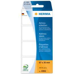 HERMA Adress-Etiketten, 88 x 35 mm, Leporello gefalzt, weiß