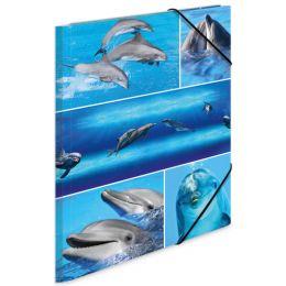 HERMA Eckspannermappe Delfine, aus Karton, DIN A4