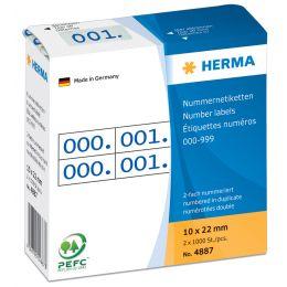 HERMA Nummern-Etiketten 0-999, 10 x 22 mm, blau, doppelt