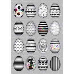HERMA Oster-Sticker TREND Eierset schwarz / weiß