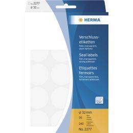HERMA Verschlußetiketten, Durchmesser: 32 mm, transparent