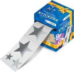 HERMA Weihnachts-Sticker, auf Rolle, Sterne Silberfolie