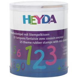 HEYDA Motivstempel-Set Zahlen, Klarsicht-Runddose