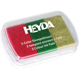 HEYDA Stempelkissen 3-Color, rot/dunkelgrün/gold