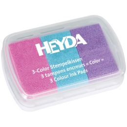 HEYDA Stempelkissen 3-Color, rosa/hellblau/flieder