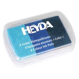 HEYDA Stempelkissen 3-Color, hellblau/mittelblau/dunkelblau