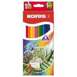 Kores Aquarell-Buntstifte Akuarelle, dreikant, 12er Etui