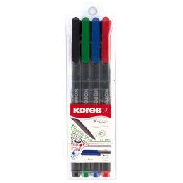 Kores Fineliner K-Liner, Strichstärke: 0,4 mm, 4er Etui