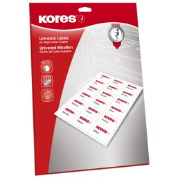 Kores Universal-Etiketten, 97 x 42,3 mm, weiß, 25 Blatt