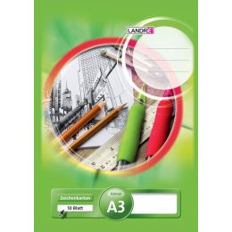 LANDRÉ Zeichenkartonblock DIN A3, 190 g/qm, 10 Blatt