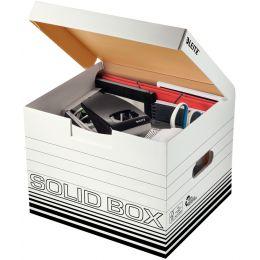 LEITZ Archiv-Klappdeckelbox Solid M, weiß/schwarz