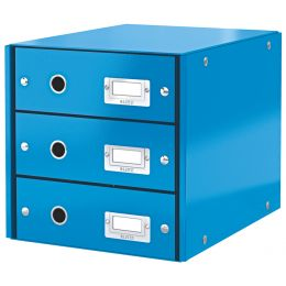 LEITZ Schubladenbox Click & Store WOW, 3 Schübe, blau