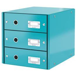 LEITZ Schubladenbox Click & Store WOW, 3 Schübe, eisblau
