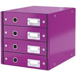 LEITZ Schubladenbox Click & Store WOW, 4 Schübe, violett