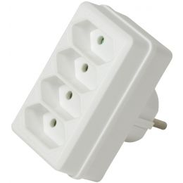 LogiLink Adapterstecker, 4x Euro, ohne Schalter, weiß