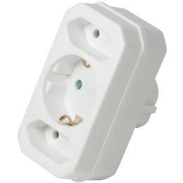 LogiLink Adapterstecker, 2x Euro + 1 Schutzkontakt, weiß