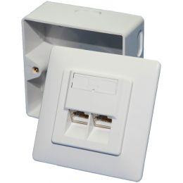 LogiLink Aufputz- und Unterputzdose Kat. 6, 2 x RJ45, weiß