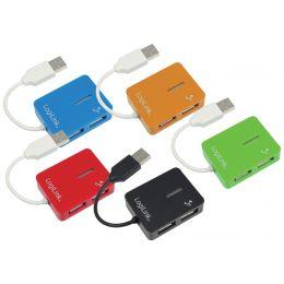 LogiLink USB 2.0 Hub Smile, 4 Port, blau