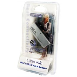 LogiLink USB 2.0 Mini Card Reader, All-in-1, silber/schwarz