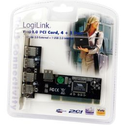 LogiLink USB 2.0 PCI Karte, 4 + 1 Port, NEC Chipsatz