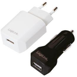 LogiLink USB-Ladegeräte-Set, 2-teilig, schwarz & weiß