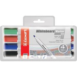 Luxor Whiteboard-Marker 650, Rundspitze, 4er Etui, sortiert