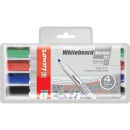 Luxor Whiteboard-Marker 651, Keilspitze, 4er Etui, sortiert