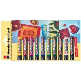 Marabu Acrylfarbe BasicAcryl, Starter Set 10 x 25 ml