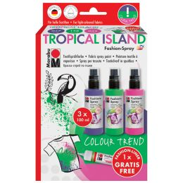 Marabu Textilsprühfarbe Fashion-Spray, Set TROPICAL ISLAND
