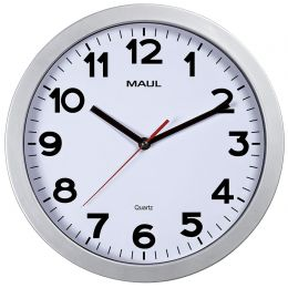 MAUL Wanduhr/Quarzuhr MAULstep, Durchmesser: 300 mm, silber